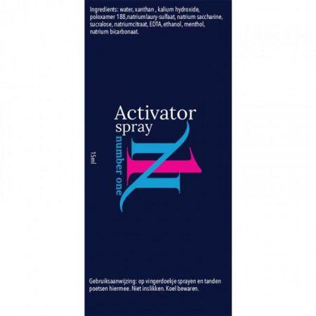 Etiket Activatorspray 15 ml. met gebruiksaanwijzing